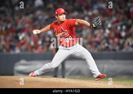 Memphis, TN, USA. 30th Mar, 2017. St. Louis Cardinals pitcher Seung-Hwan Oh delivers a pitch during the second inning of an exhibition game against the Memphis Redbirds at AutoZone Park in Memphis, TN. St. Louis won 9-3. Austin McAfee/CSM/Alamy Live News