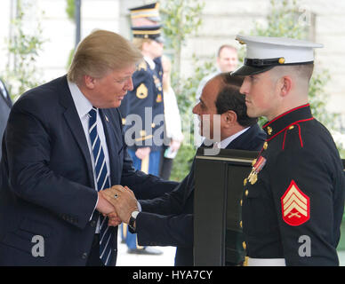 Washington DC, USA. 03rd Apr, 2017. United States President Donald J. Trump welcomes President Abdel Fattah Al Sisi - Stock Photo