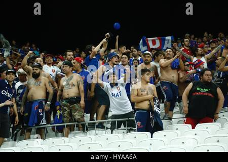 Fans of Universidad de Chile provoke Corinthians fans before the match validated by the first round of the 2017 - Stock Photo
