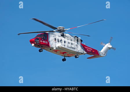 Sikorsky S92A Bristow helicopter G-MCGI operating for the UK Coastguard based at Inverness Airport - Stock Photo