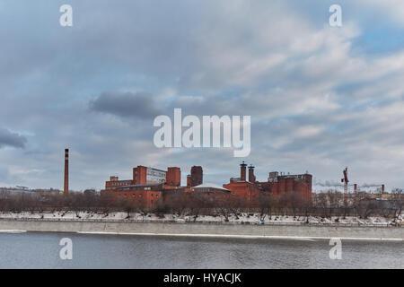 Moscow - 10 January 2017: Factory near Moscow city - Stock Photo