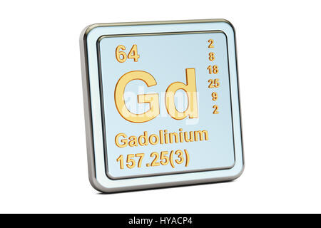 Gadolinium Gd, chemical element sign. 3D rendering isolated on white background - Stock Photo