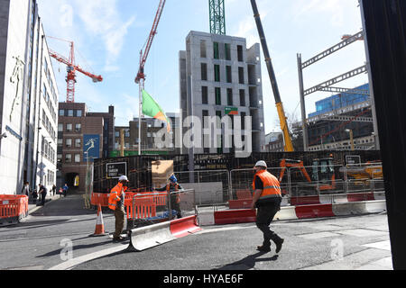 Luas and other construction work in Dawson Street and Molesworth Street, Dublin, Ireland. March 2017 - Stock Photo