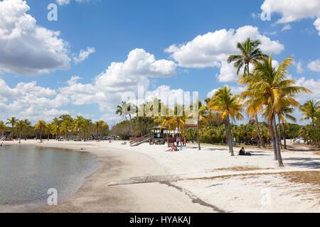 MIAMI, USA - MAR 10, 2017: Matheson Hammock Park beach in Miami, Florida, United States - Stock Photo