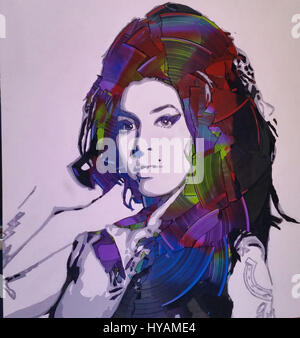 LONDON, UK: Amy Winehouse with LEDs. YOU'LL BE getting in a spin over these iconic £1,200 portraits made entirely - Stock Photo