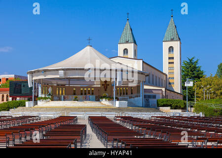 Saint James church of Medjugorje in Bosnia Herzegovina. - Stock Photo