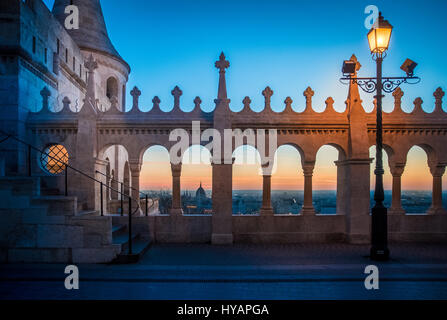 Fishermans bastion, a major tourist atraction in Budapest, Hungary at dawn. - Stock Photo