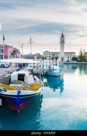 fishing boats in Zaante town harbor, Zakinthos Greece - Stock Photo