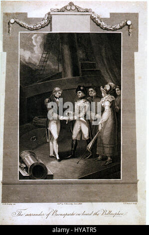 The surrender of Buonaparte on board the Bellerophon - Stock Photo