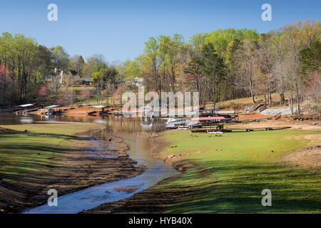 This is an image of the area in which Latham Creek empties into Lake Lanier along the Chestatee River section of - Stock Photo
