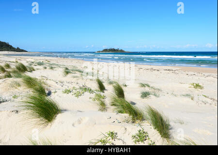 People strolling on  Conjola Beach, Shoalhaven, South Coast, New South Wales, NSW, Australia - Stock Photo