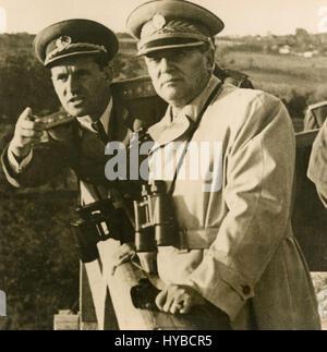 President of Yugoslavia Josip Broz Tito and General Peko Dapcevic, Yugoslavia - Stock Photo