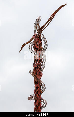 MOUNT NEBO, JORDAN - FEBRUARY 20, 2012: Serpentine Cross sculpture (the Brazen Serpent Monument) on top of Mount - Stock Photo