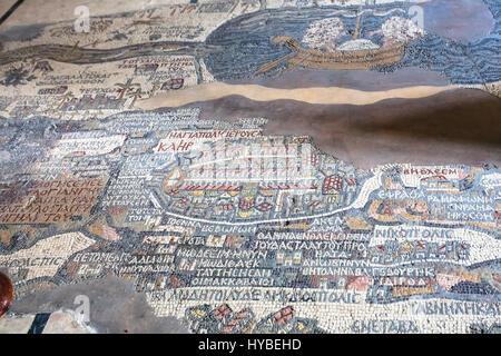 MADABA, JORDAN - FEBRUARY,20, 2012: floor in Greek Orthodox Basilica of St George in Madaba city with early Byzantine - Stock Photo