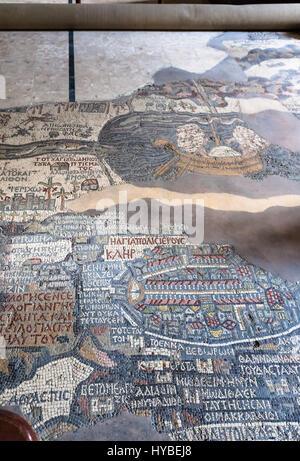 MADABA, JORDAN - FEBRUARY,20, 2012: pavement of Greek Orthodox St George Basilica in Madaba city with early Byzantine - Stock Photo