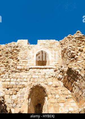 AL-KARAK, JORDAN - FEBRUARY 20, 2012: inner walls in courtyard of medieval Kerak castle. Kerak Castle is one of - Stock Photo