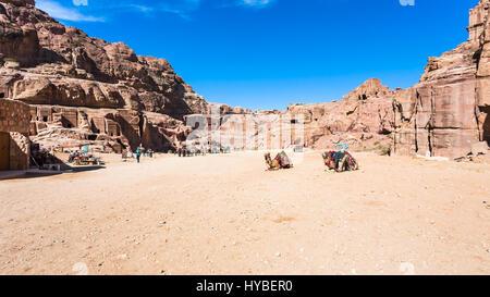 PETRA, JORDAN - FEBRUARY 21, 2012: panorama of ancient Petra town. Rock-cut town Petra was established about 312 - Stock Photo