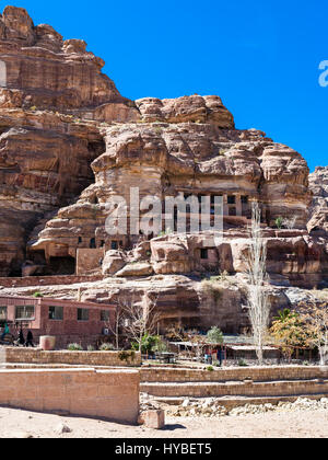 PETRA, JORDAN - FEBRUARY 21, 2012: museum in caves of ancient Petra town. Rock-cut town Petra was established about - Stock Photo