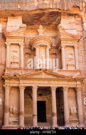 PETRA, JORDAN - FEBRUARY 21, 2012: ffront view of facade of al-Khazneh temple (The Treasury) in Petra town. Rock - Stock Photo