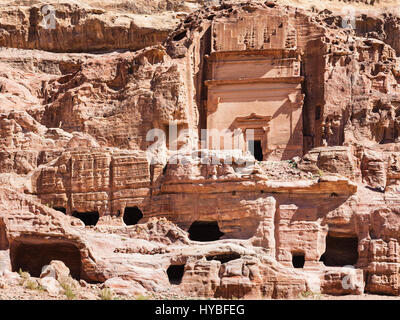 Travel to Middle East country Kingdom of Jordan - front view of Uneishu Tomb in ancient Petra city in winter - Stock Photo