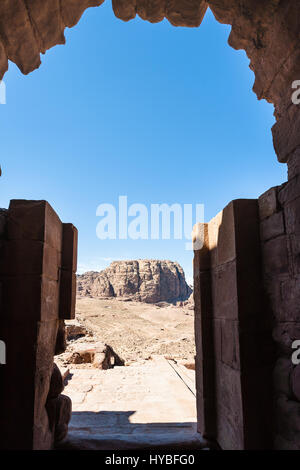Travel to Middle East country Kingdom of Jordan - view from Urn Tomb of mountain landscape in Petra town - Stock Photo