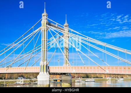 Albert Bridge over the River Thames, London, England, UK - Stock Photo