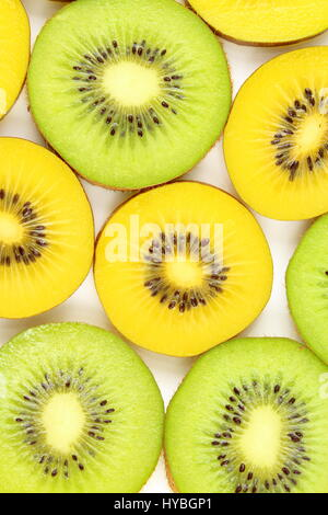 slices of fresh green and yellow kiwi fruits as a food background texture