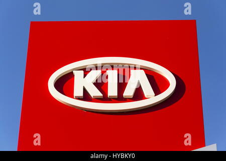 PRAGUE, CZECH REPUBLIC - MARCH 31: Kia motors company logo in front of dealership building on March 31, 2017 in - Stock Photo
