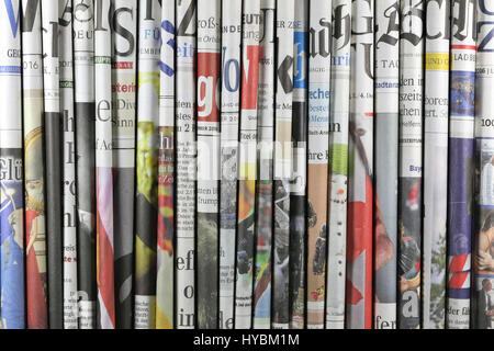 various serious regional and national German daily newspapers - Stock Photo