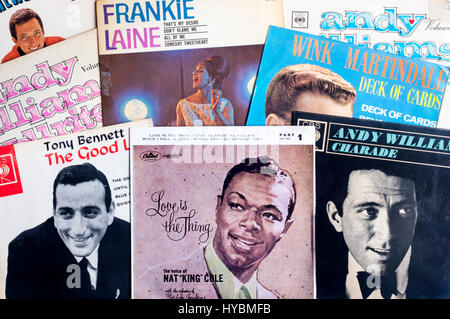 A selection of 1950s and 1960s singles vinyl records. - Stock Photo
