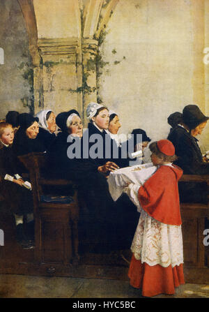 This painting, titled The Blessed Bread, was done by the French artist Pascal Adolphe Jean Dagnan-Bouveret (1852 - Stock Photo