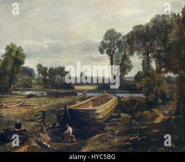 This painting, titled Boat-Building near Flatford Mill, is by the English artist John Constable (1776-1837). It - Stock Photo