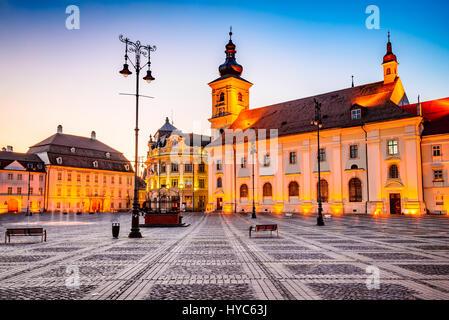 Sibiu, Romania. Twilight image of Council Tower in Large Square, Transylvania. - Stock Photo
