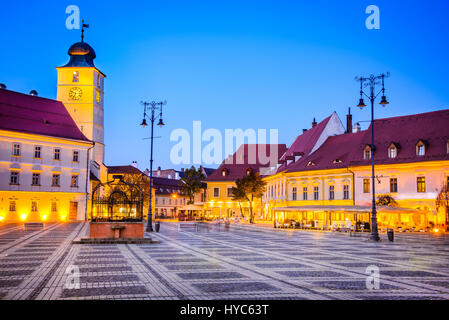 Sibiu, Romania. Twilight image of Large Square, Transylvania. - Stock Photo
