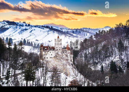 Bran Castle, Romania. Stunning HDR twilight image of Dracula fortress in Transylvania, medieval landmark. - Stock Photo