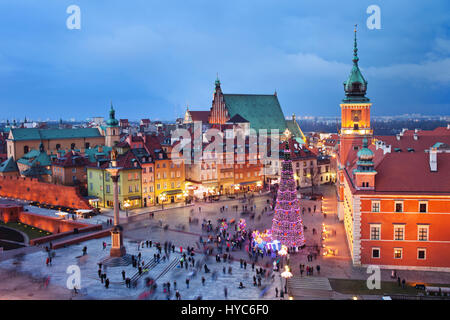 Warsaw Old Town in Poland in the evening, during Christmas time. - Stock Photo