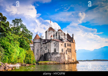 MONTREUX, SWITZERLAND - AUGUST 18, 2011 - Castle Chillon one of the most visited castle in Switzerland attracts - Stock Photo