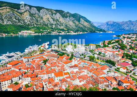 Kotor, Montenegro. Bay of Kotor bay is one of the most beautiful places on Adriatic Sea, it boasts the preserved - Stock Photo