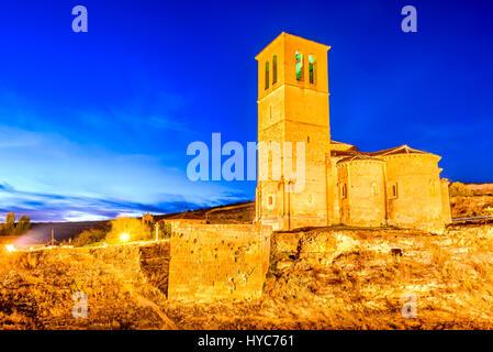 Segovia, Spain. 12-sided church of Vera Cruz built by Knights Templar in 13th century. - Stock Photo