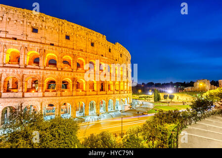 Rome, Italy. Colosseum, Coliseum or Coloseo,  Flavian Amphitheatre largest ever built symbol of ancient Roma city - Stock Photo