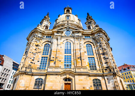 Dresden, Germanu. Neumarkt Square at Frauenkirche (Our Lady church) in the center of Old town, Saxony. - Stock Photo