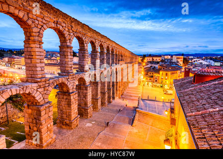 Segovia, Spain. Plaza del Azoguejo and the ancient Roman Aqueduct, from 1st century AD of Roman Empire. - Stock Photo