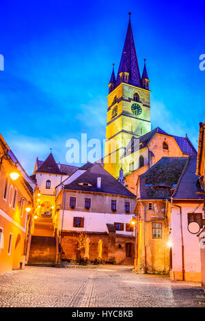 Sibiu, Romania. Evangelical Cathedral in the center of Sibiu, Transylvania, European Capital of Culture for the - Stock Photo