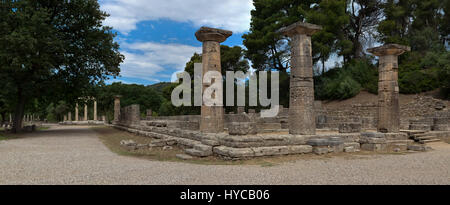 A place where Olympic fire is lit, Temple of Hera, Olympia - Stock Photo