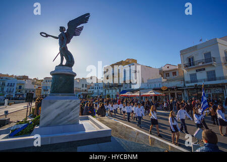 The Greek National Anniversary and a major religious holiday with school and military parades in Syros island, Cyclades - Stock Photo
