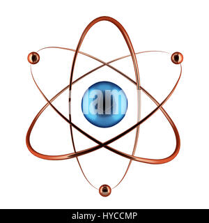 Nuclear symbol isolated on the white. 3D render illustration. - Stock Photo