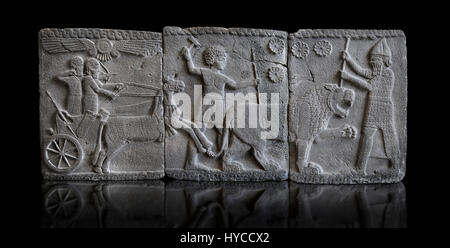 Relief panels depicting a lion hunt found in the palace district in the ruins of Coba Hoyuk, also known as Sakçe - Stock Photo