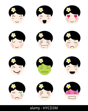 kawaii asian girl face different moods cute emoji collection kawaii asian girl face different moods stock photo