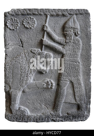 Relief panels depicting a lion hunt found in the palace district in the ruins of Coba Höyük, also known as Sakçe - Stock Photo