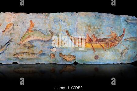 Roman Fresco with boats and marine life from the second quarter of the first century AD. (mosaico fauna marina da - Stock Photo